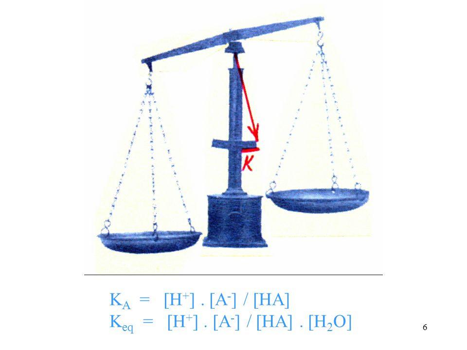 KA = [H+] . [A-] / [HA] Keq = [H+] . [A-] / [HA] . [H2O]